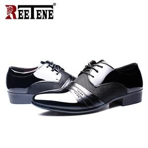 Image 4 - REETENE MenS Dress Shoes Fashion Pu Leather Shoes Men Brands Wedding Oxford Shoes for MenS Breathable Men Formal Footwear