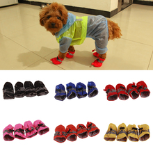 4Pcs/set Pet Dogs Winter Shoes Rain Snow Waterproof Booties Socks Rubber Anti-slip Shoes For Small Dog Puppies Footwear Cachorro reflective dog shoes socks winter dog boots footwear rain wear non slip anti skid pet shoes for medium large dogs pitbull