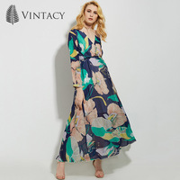 Vintacy 2017 New Arrivals Women Blue Maxi Summer Dress Floral V Neck Loose Casual Women Long