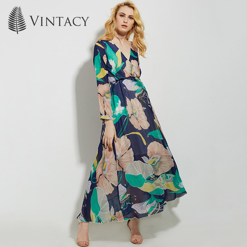 Vintacy women blue green maxi summer dress casual Floral v neck loose casual women long party dress spring women dresses