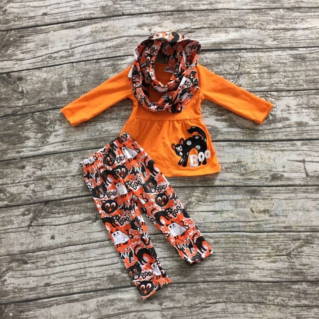 Halloween FALL/Winter baby kids OUTFITS 3 pieces scarf orange top cat BOO pant sets animal girls Halloween boutique clothes sets