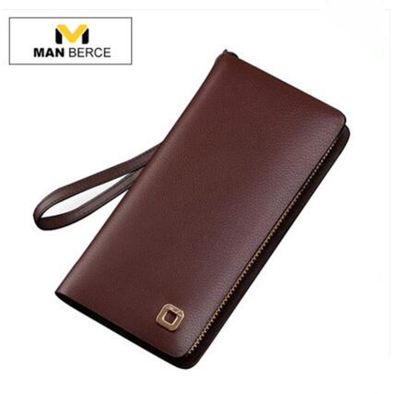 MANBERCE Cowhide Men Wallets Brand Mens Wallet Leather Genuine Large Capacity Men's Clutch Bags Purses And Handbags Man Bag banlosen brand men wallets double zipper vintage genuine leather clutch wallets male purses large capacity men s wallet