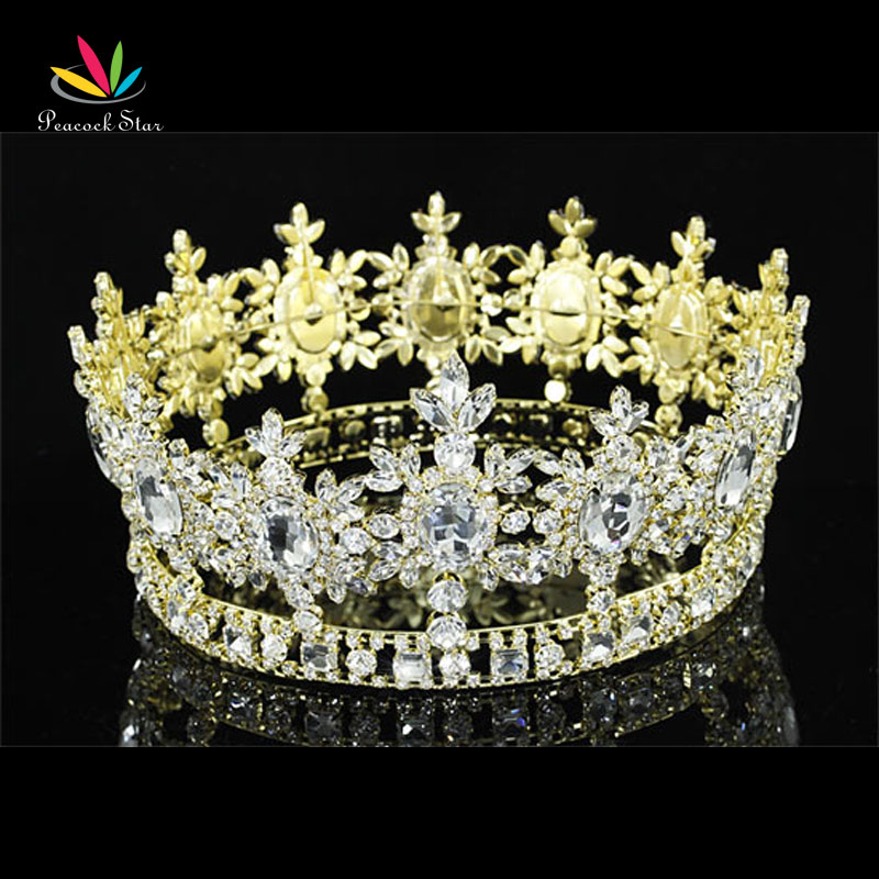 Peacock Star Men Pageant King Crown Prom Accessories Gold Color Full Circle Round Tiara Wholesale CT1791