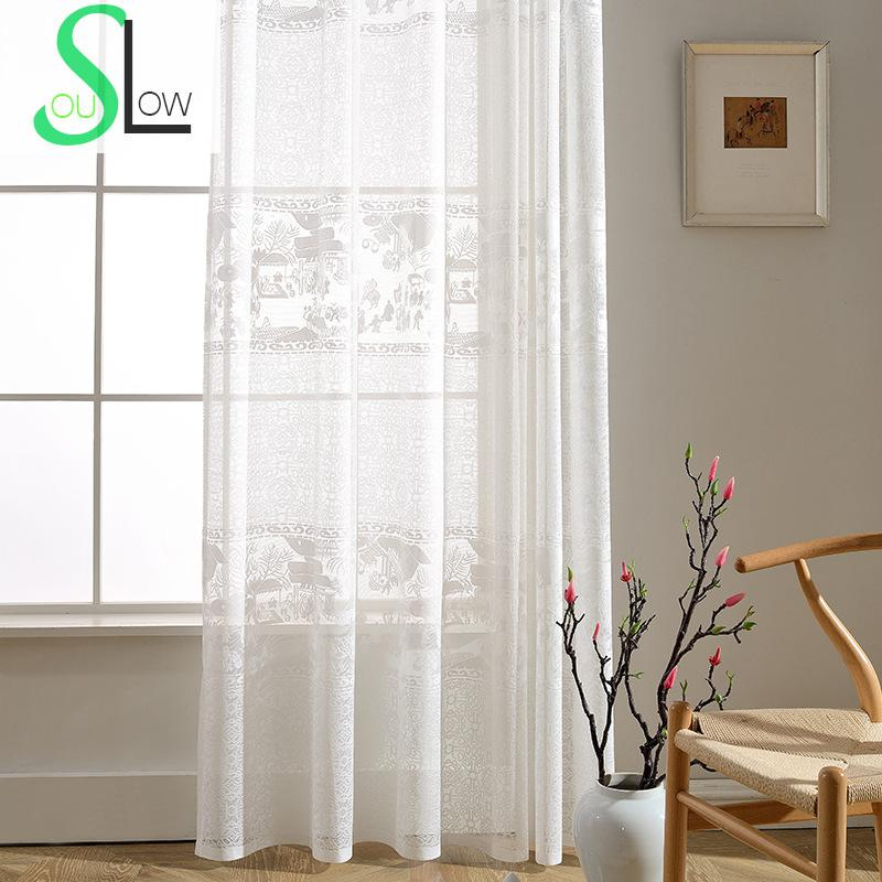 Slow Soul White Ching Ming River Map Jacquard Chinese Curtains For Living Room Tulle Kitchen Modern Bedroom Curtain Sheers