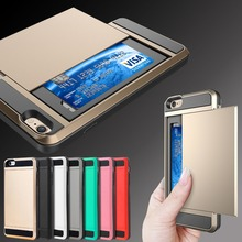 New Slim Slide Card Slot Holder Shockproof Armor Hard Case Cover For Various Phone Cases Protector