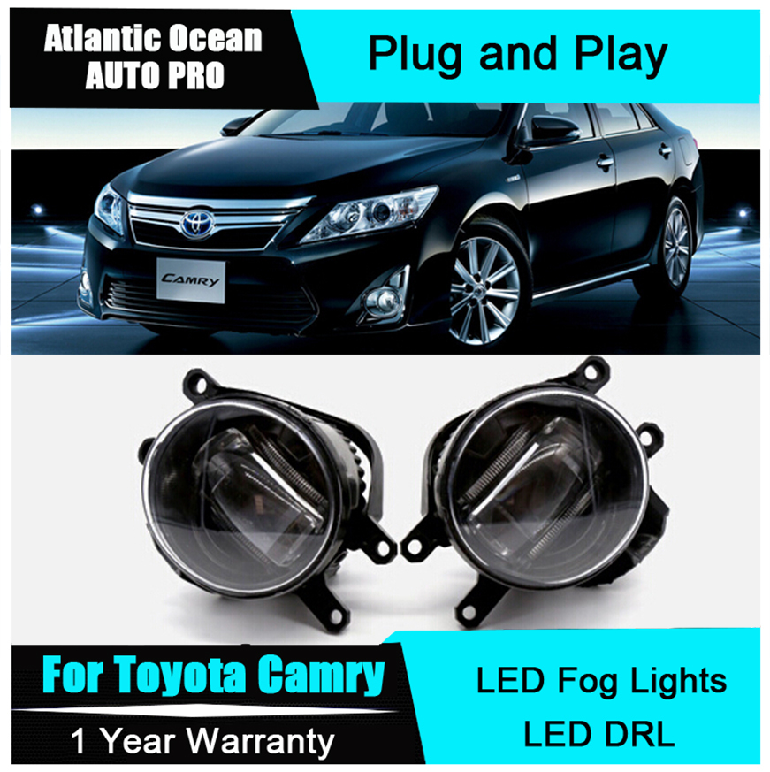 Auto Pro Car Styling LED fog lamps For Toyota camry led DRL with lens 2009-2015 For Toyota camry LED fog lights+led DRL parking for opel vectra c estate 2003 04 05 06 07 car styling led fog lamps fog lights drl refit blue 12v 2 pcs