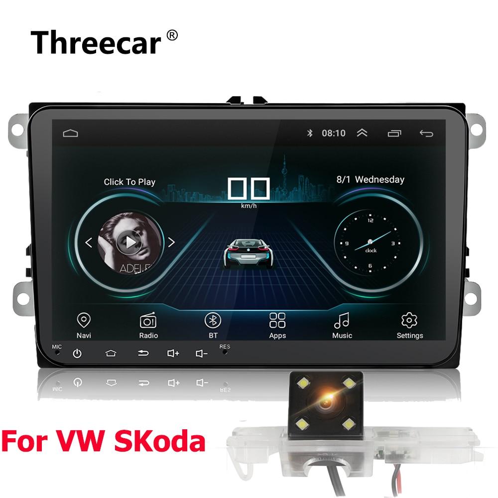 Двойной 2Din Автомагнитола Android 8 gps навигация автомобильное радио плеер для Skoda seat Passat Tiguan Magotan Wifi Bluetooth 2 din радио