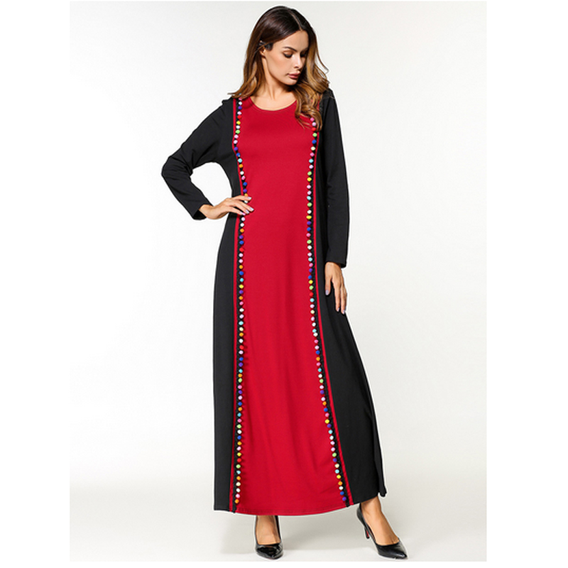 Long Sleeve Splice Red Black Anarkali Frocks Gowns,New Model Patch Abaya in Dubai Wholesale Indian Clothing Long Dresses