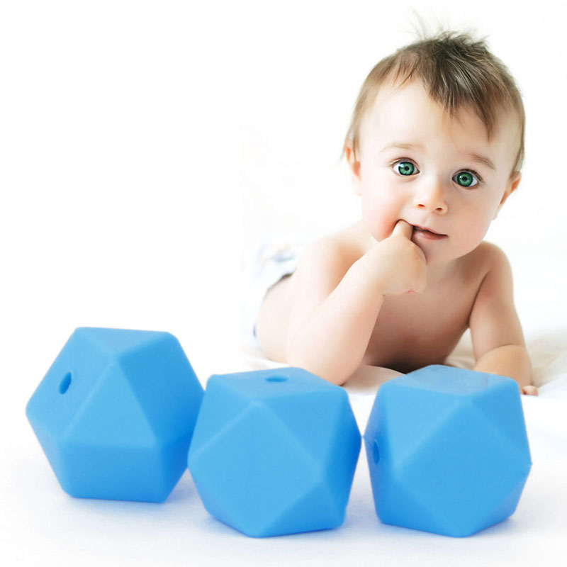 20pcs Hexagon 17mm Bpa Free Silicone Beads For Baby Pacifier Chain Diy Silicone Teething Chewable