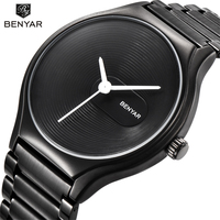 BENYAR Fashion Casual Simple Lovers Quartz Watch Waterproof Full Steel Men Watches Top Brand Luxury Women