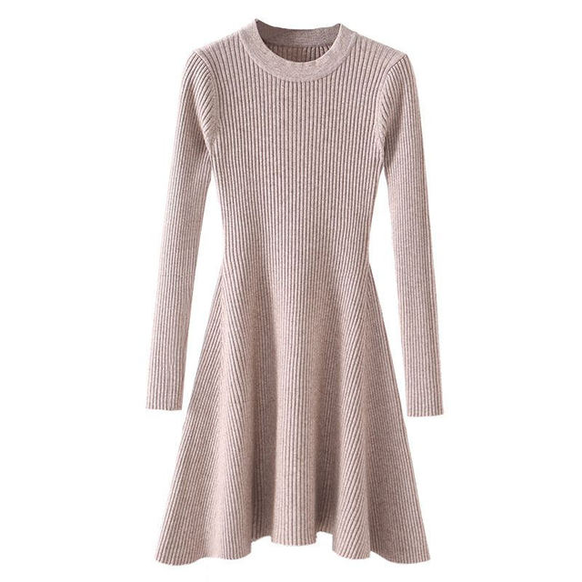 b31a85197c8 Chic Winter Sexy Sweater Dress Women O-neck Long Sleeve A Line Thick Knit  Mini