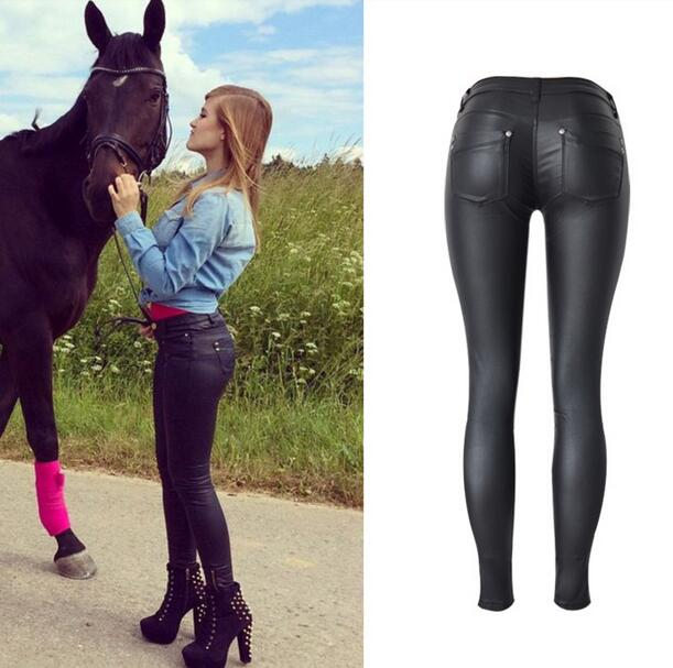 Women's Clothing Jeans Women Sexy Low Waist Pu Leather Black Skinny Motorcycle Pants