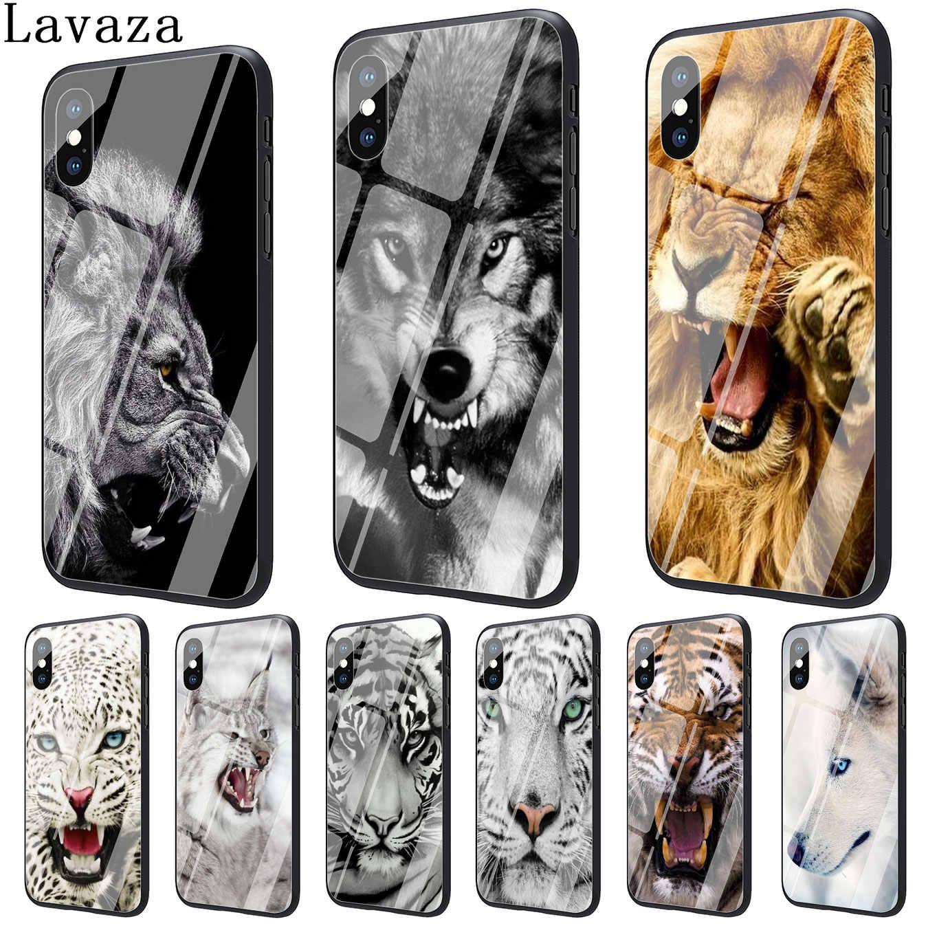123f0d896c Lavaza Classic Cool lion tiger Wolf Print Tempered Glass Phone Cover Case  for Apple iPhone XR