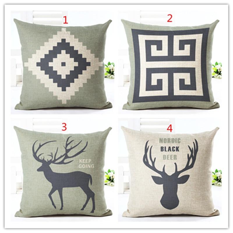 2016 New Arrival Sike Deer  Cotton Linen Cushions Minions Print Home Decorative Bed Throw Pillows Almofadas