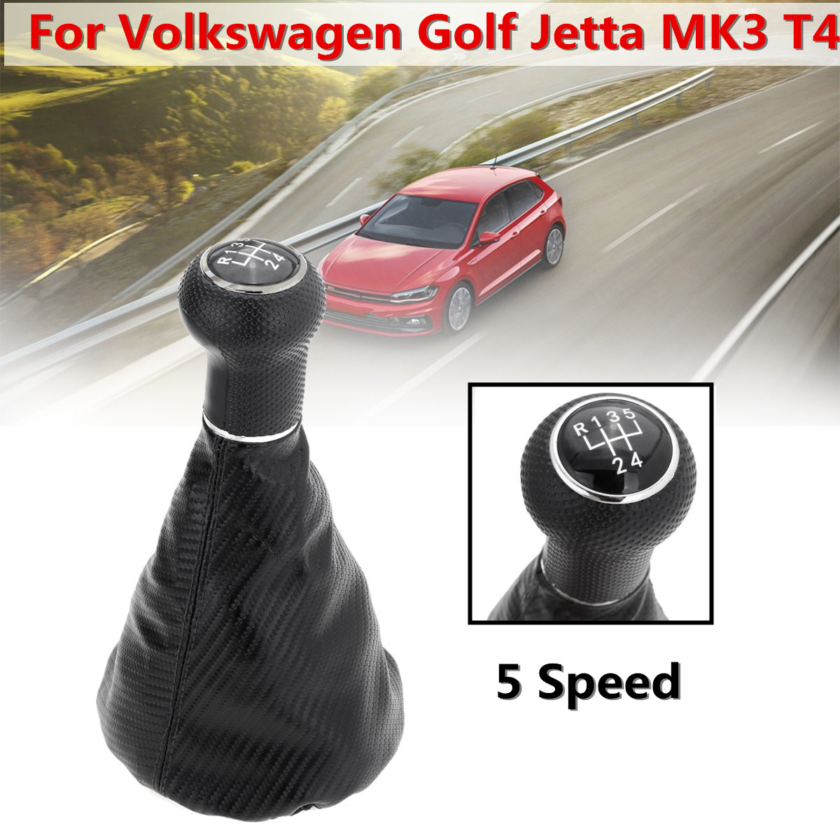 5 Speed Black Car <font><b>Gear</b></font> Shift <font><b>Knob</b></font> Gaiter Boot For <font><b>VW</b></font> <font><b>Golf</b></font> <font><b>MK3</b></font> T4 Carbon Fiber Leather <font><b>Gear</b></font> Shift <font><b>Knobs</b></font> Cover image