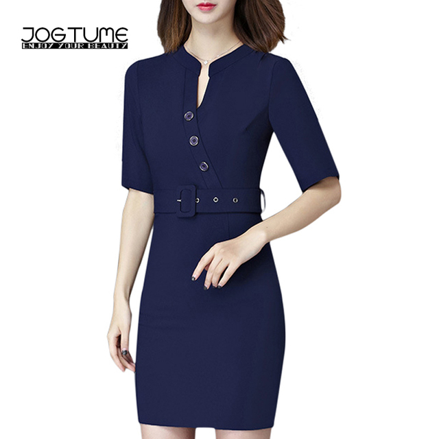 US $23.49 29% OFF|JOGTUME 2017 Summer Office Dress with Sashes Half Sleeve  Stand Bodycon Elegent Plus Size Business Dresses Red,Blue,Black Color-in ...