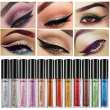 Maquillaje impermeable con delineador de ojos brillante de marca poppink cosméticos de larga duración Color oro rosa Natural Color líquido brillo(China)