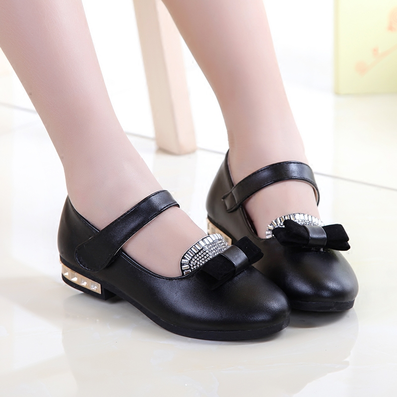 European Diamond Fashion Children Leather Shoes High Quality Lovely Princess Girls Shoes Baby Cute Wedges Kids Shoes