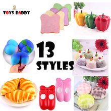 13 Styles Squishy Antistress jumbo Slow Rising Bread Cake Ballet Shoes Peach Pendant stickers Stress Stretch Kids Toys slime(China)