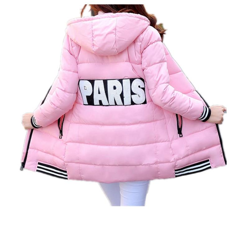 S 3XL Women Winter Female Cotton Coat Striped Cuff And Hem Down Jacket Coat Slim Fashion