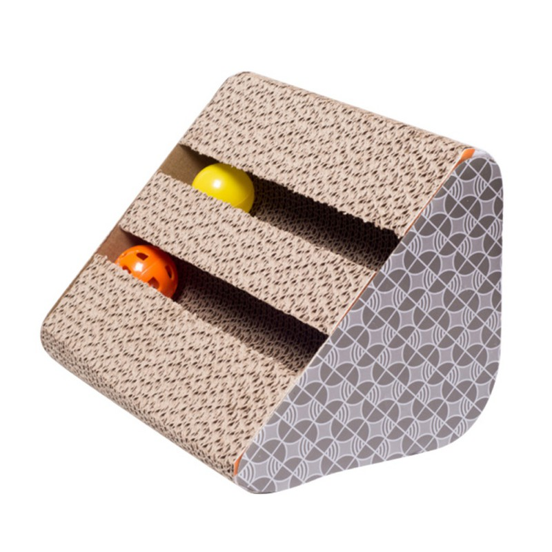 Pet Cat Toys Sided Bell Corrugated Paper Sofa Scratcher Board With Catnip Handmade Kitten Scratching Interactive Training Toy