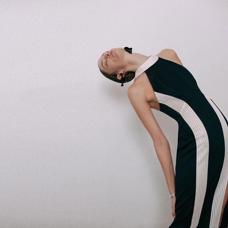 De Robes Sans Manches Robe Moulante Hashupha Élégant Noir Nouveautés Soirée Hiver 2019 O Lacée Longues Club Sexy Black cou LqSMzpUGV