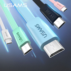 USAMS Original Phone Cable for Samsung Huawei Android Charging Micro USB Cable Sync Data Charging Noodle Cable 0.6/1.2m Cord