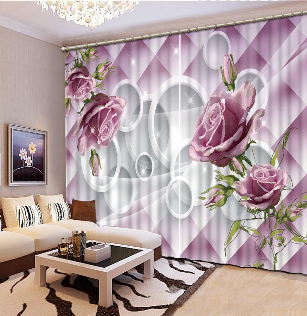 Purple rose Curtains for living room Curtain window room Home Decoration High Quality