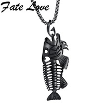 Hollow White Black Golden Jewelry Unique Fish Bone Pendant 22″Necklace  316L Stainless Steel Punk Personality Pendant FL1073