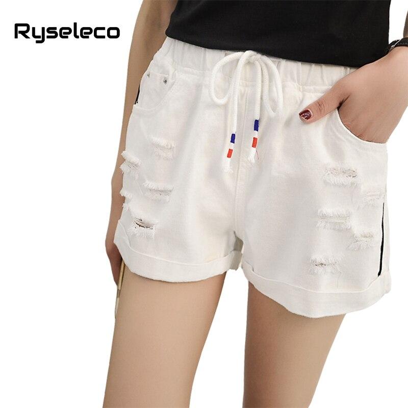 Classic Hole Roll Hem Elastic Waist Lace Up Loose Women Summer Denim Shorts Casual Female Ripped Hole Plus Size Big Short Jeans
