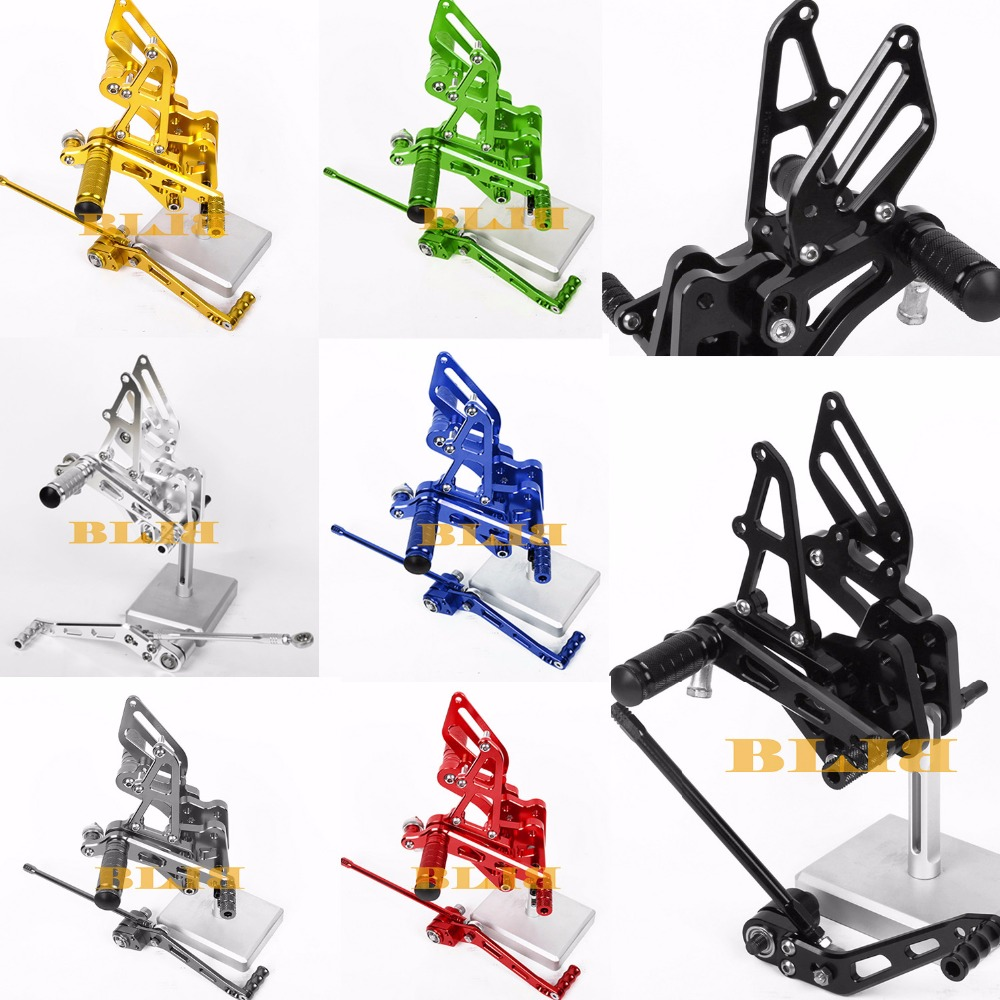 8 Colors CNC Rearsets For Suzuki GSXR 600 750 2006 - 2010 Rear Set Motorcycle Adjustable Foot Stakes Pegs Pedal  2009 2008 2007 free shipping motorcycle parts silver cnc rearsets foot pegs rear set for yamaha yzf r6 2006 2010 2007 2008 motorcycle foot pegs