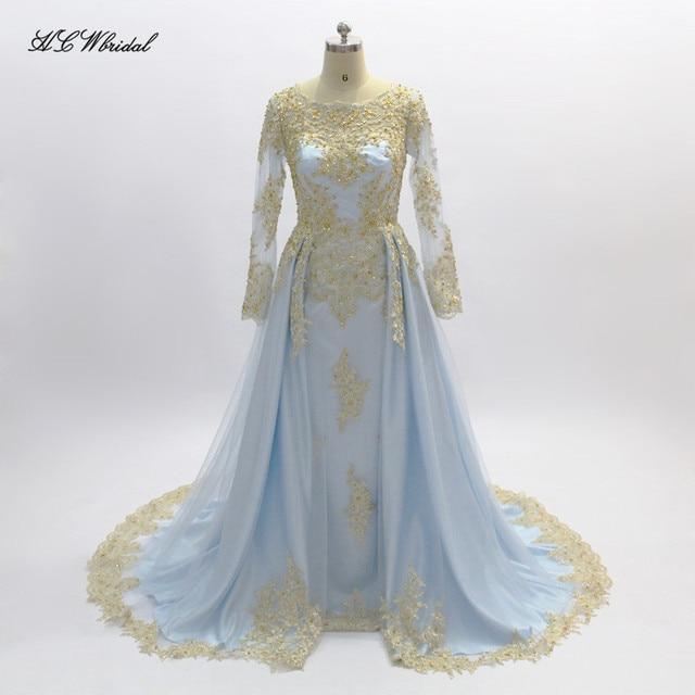Light Blue Long Sleeve Muslim Evening Dress Gold Lace Beaded