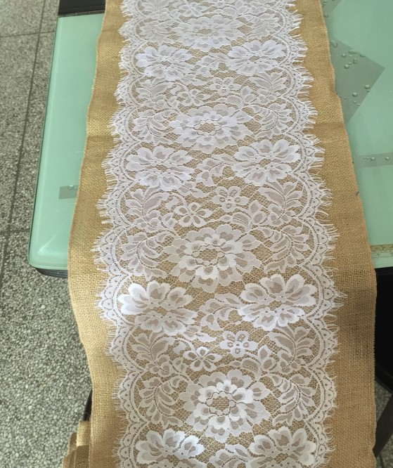 34cmx 300cm Rustic shabby chic Natural Burlap and Lace Table Runner for Vintage Wedding/Party burlap roll with 29cm lace ribbon