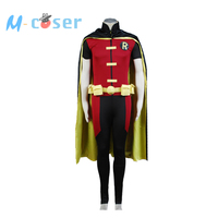 Young Justice Robin Uniform Men Hero Jumpsuit Full Sets Custom Made Carnival Halloween Party Cosplay Costume