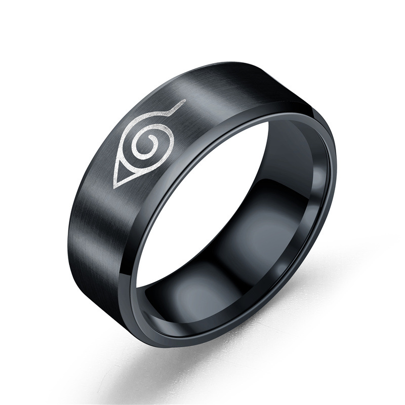 Drop Shipping Fashion Black Naruto Rings Men Finger Rings Stainless Steel Black Color Rings Action Figure Toys Wholesale