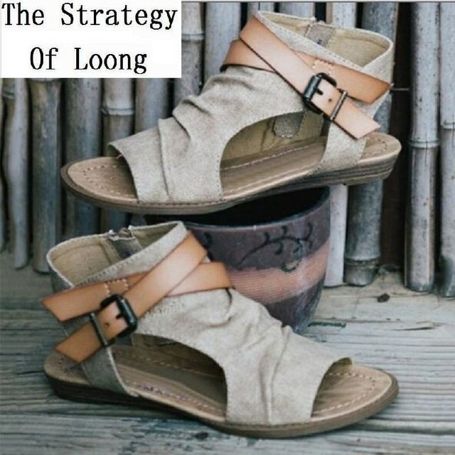 d2d17780825f Summer New Flat Heels Plus Size Rome Women Shoes Canvas Ankle Wrap Buckle  Strap Genuine Leather