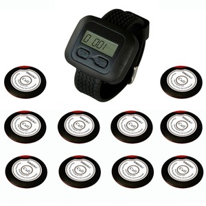 SINGCALL. Wireless restaurant calling systems, for waiter, coffee shop, restaurant, 10 one-button pagers and 1 Receiver