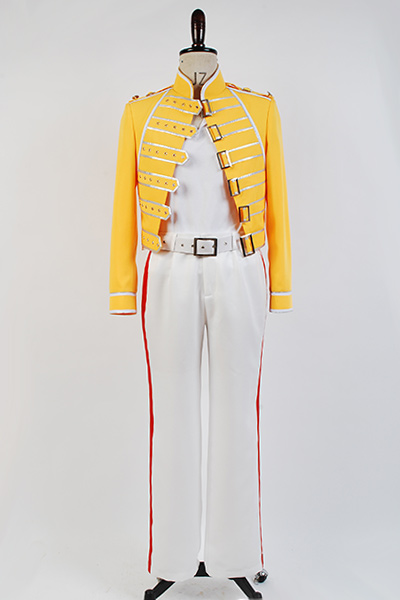 Queen Lead Vocals Freddie Mercury Cosplay Costume Men Yellow Jacket Full set Pant Costume Full Sets