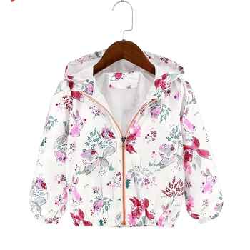 Cute Bunny Pattern Coats With Hoodies Toddler Girls Clothe New Autumn Tops Jacket & Coats Baby Outerwear Kid's Girl Outfits