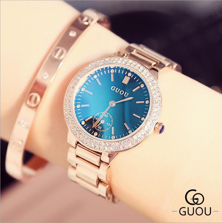 GUOU reloj mujeres de lujo Blu-ray señoras agua elegante diamante reloj de la manera regalo para chica relogio feminino