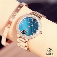 GUOU Watch Women Luxury Blu ray Ladies Watch Stylish Water Diamond Watch Fashion Wristwatch Gift for Girl saat relogio feminino