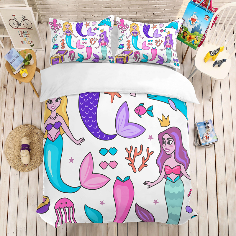 Yi Chu Xin Bed Lines Cartoon 3D Mermaid Bedding Set Quilt Cover And Pillowcase Single Double Size Kids Bedding Set