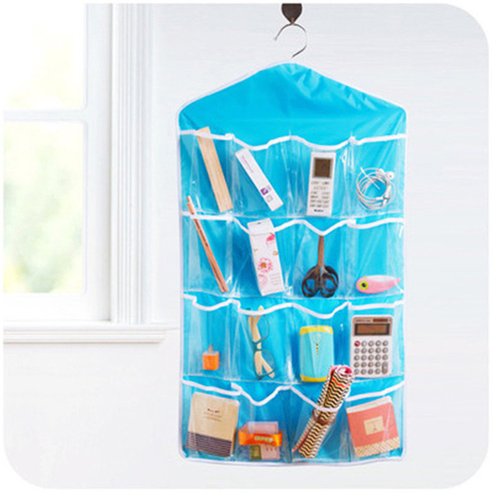 1PCS Polyester 16 Pockets Home Door Wall Vertical Hanging Wall Storage Organizer For Socks Shoe Glasses Keys Sorting GHMY