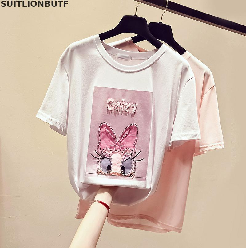 SUITLIONBUTF Summer Funny T Shirt Women Cotton Cartoon Beading Letter  Duck T Shirt Perfect Quality  Solid Women T Shirt