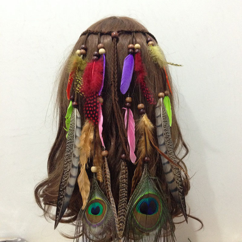 Europe Peacock Feather Strings Charming Hairbands Hippie Indian Fringes Bohemia Hair Ornaments Beads Chain Top Quality Wholesale