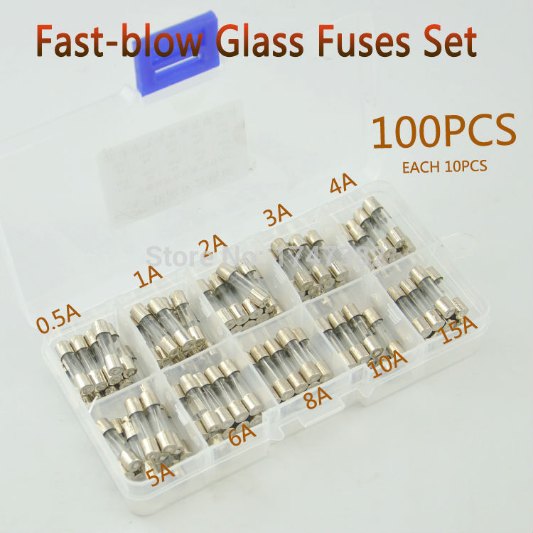 100Pcs 3A Amp Fast Blow 5 x 20mm Glass Tube Fuses 250V