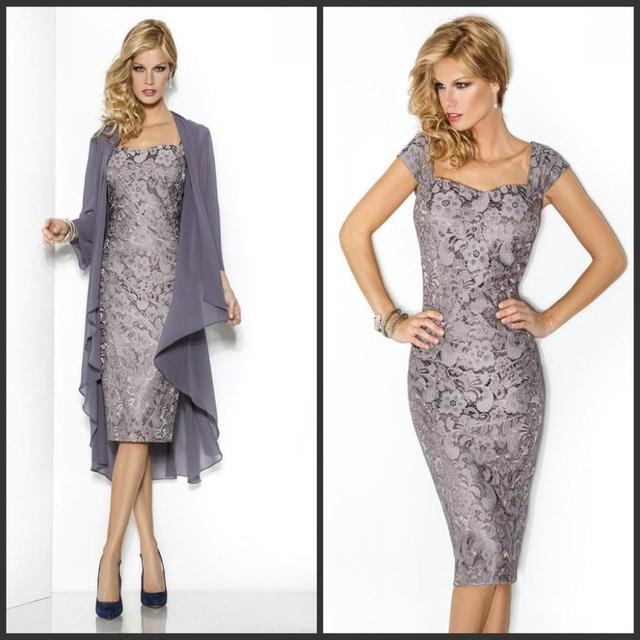 Custom made Mãe dos Vestidos de Noiva Elegante Mangas Lace Vestidos Bainha Chá Comprimento do Vestido Do Noivo com Jaqueta de Chiffon
