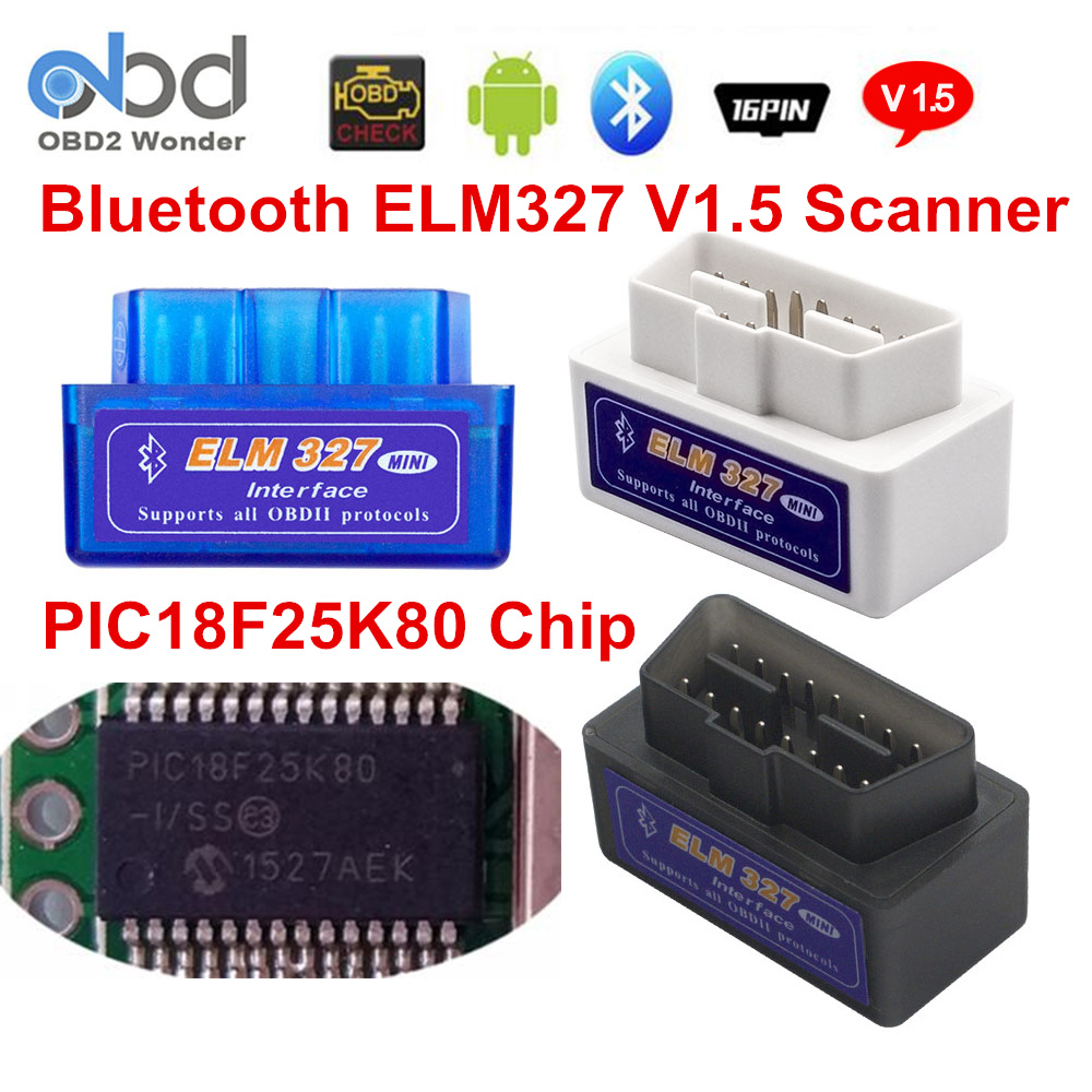 2018 Bluetooth ELM327 V1.5 PIC18F25K80 ELM 327 1.5 OBD2 Code Reader Support All OBDII Protocol ELM OBD II Car Diagnostic Scanner