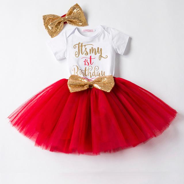 Robe d'anniversaire Pour Les Filles Infantile robe Barboteuse Tutu Robe Bandeau Pas Cher Nouveau-Né Vêtements 12 Mois De Baptême Robe Enfant Robe