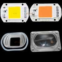 10Sets LED COB Grow Chip+Lens Reflector 50W 30W 20W 220V Cold Warm White Full Spectrum For LED Flood Light DIY Outdoor light